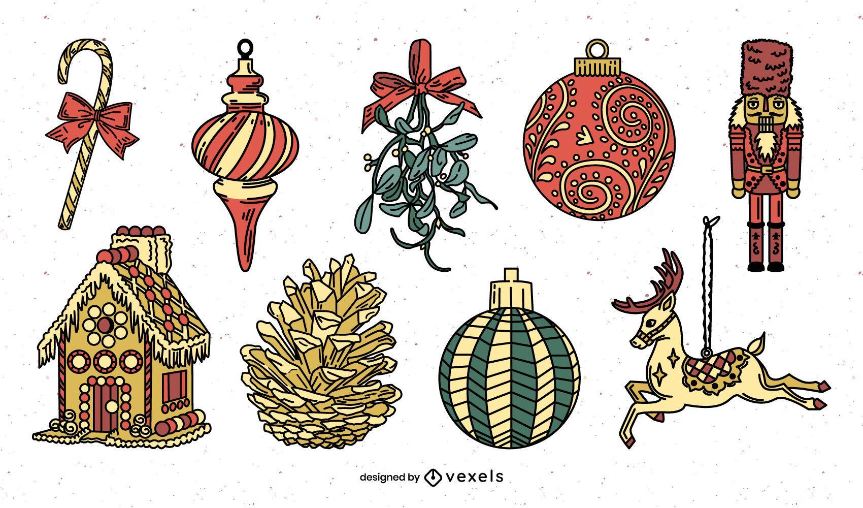 Paquete detallado de adornos navideños