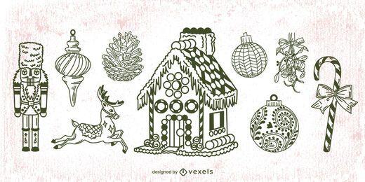 Paquete de trazos de elementos navideños dibujados a mano