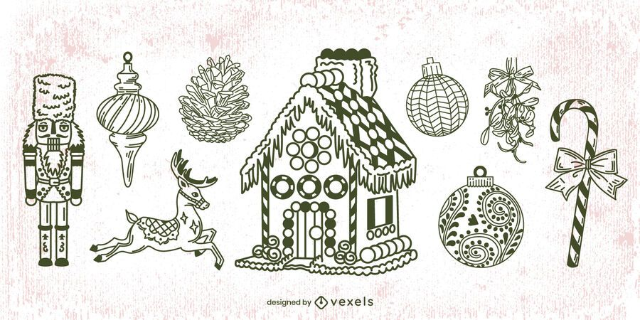 Hand Drawn Christmas Elements Stroke Pack