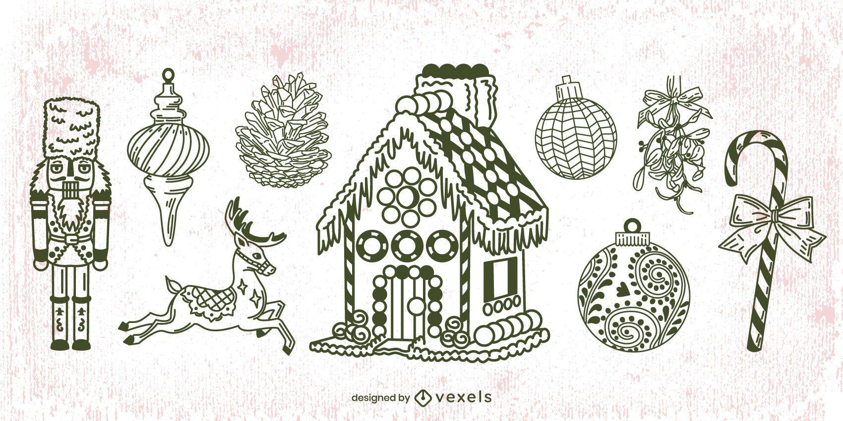 Pacote de curso de elementos de Natal desenhados ? m?o
