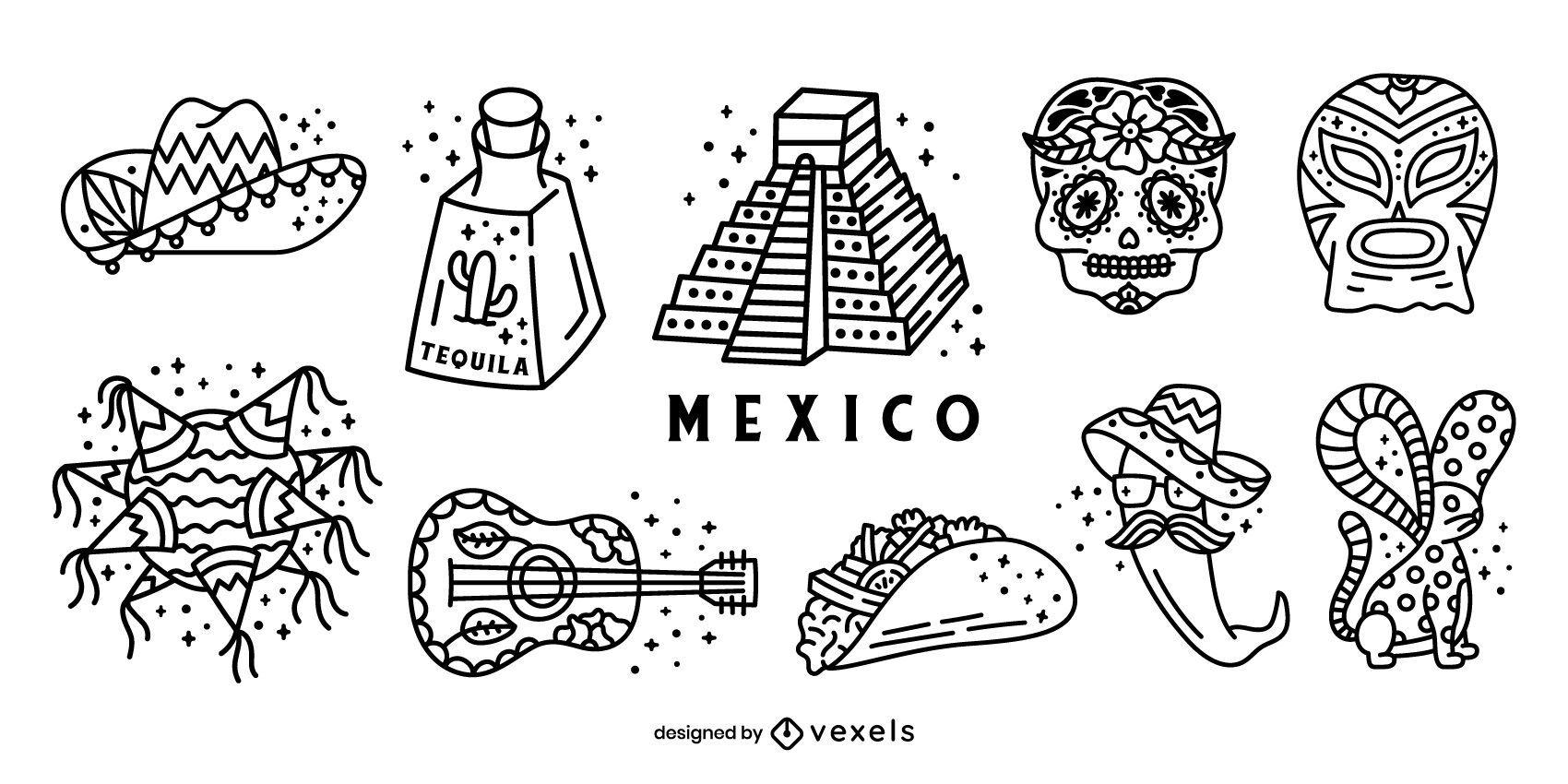 Paquete de elementos de trazo de México