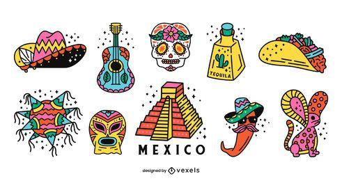 Paquete de diseño colorido de elementos de México