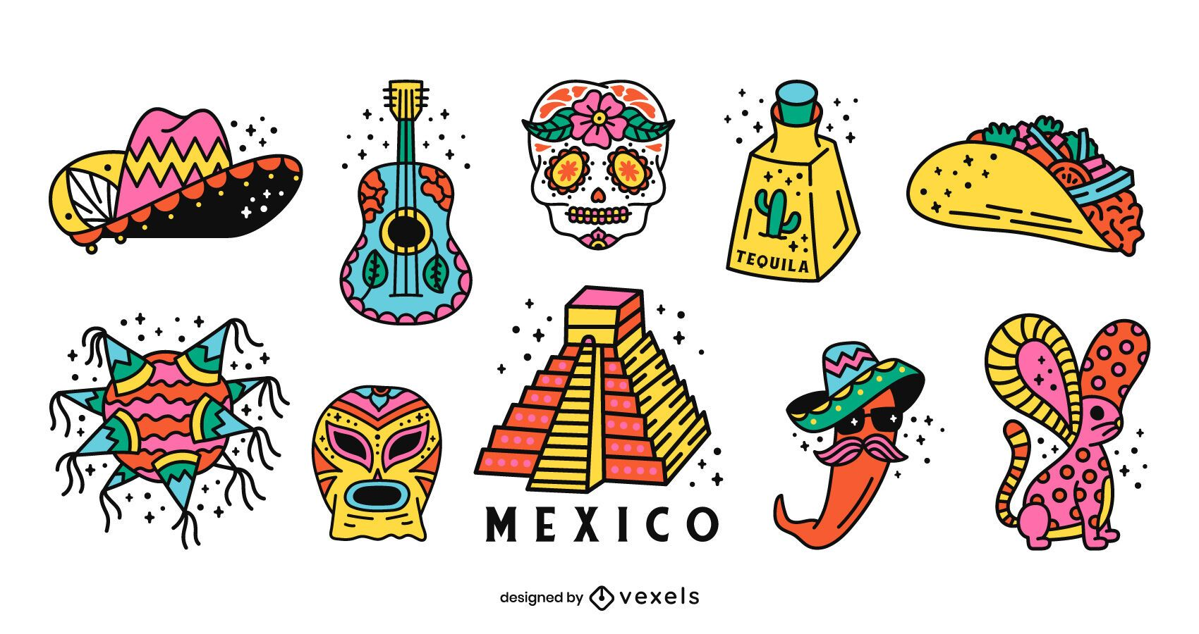 Pacote de design colorido do Mexico Elements