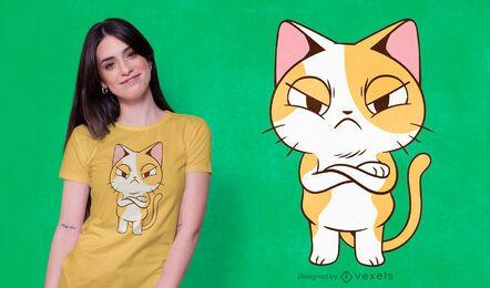 Diseño de camiseta de gatito enojado