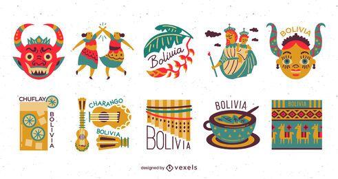 Paquete de diseño de elementos planos de Bolivia