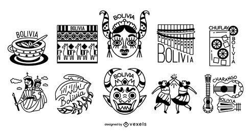 Paquete de diseño de elementos de trazo de Bolivia