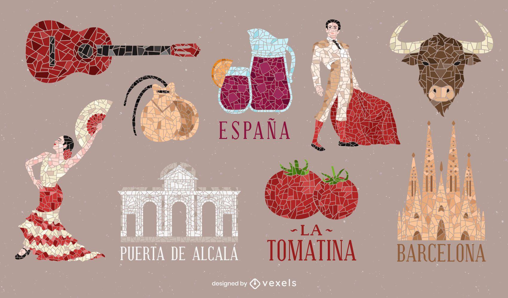 Pacote de elementos de estilo mosaico espanhol