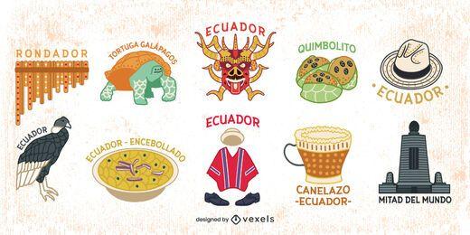 Paquete de elementos coloridos de Ecuador