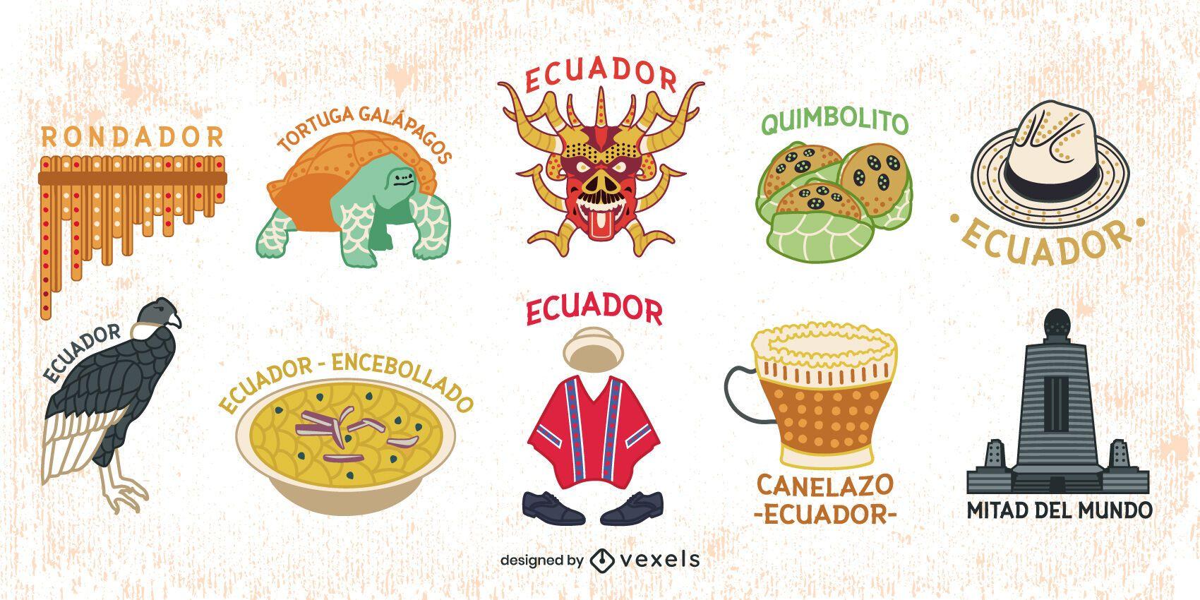 Ecuador Colorful Elements Pack