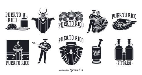 Pacote de elementos da silhueta de Porto Rico