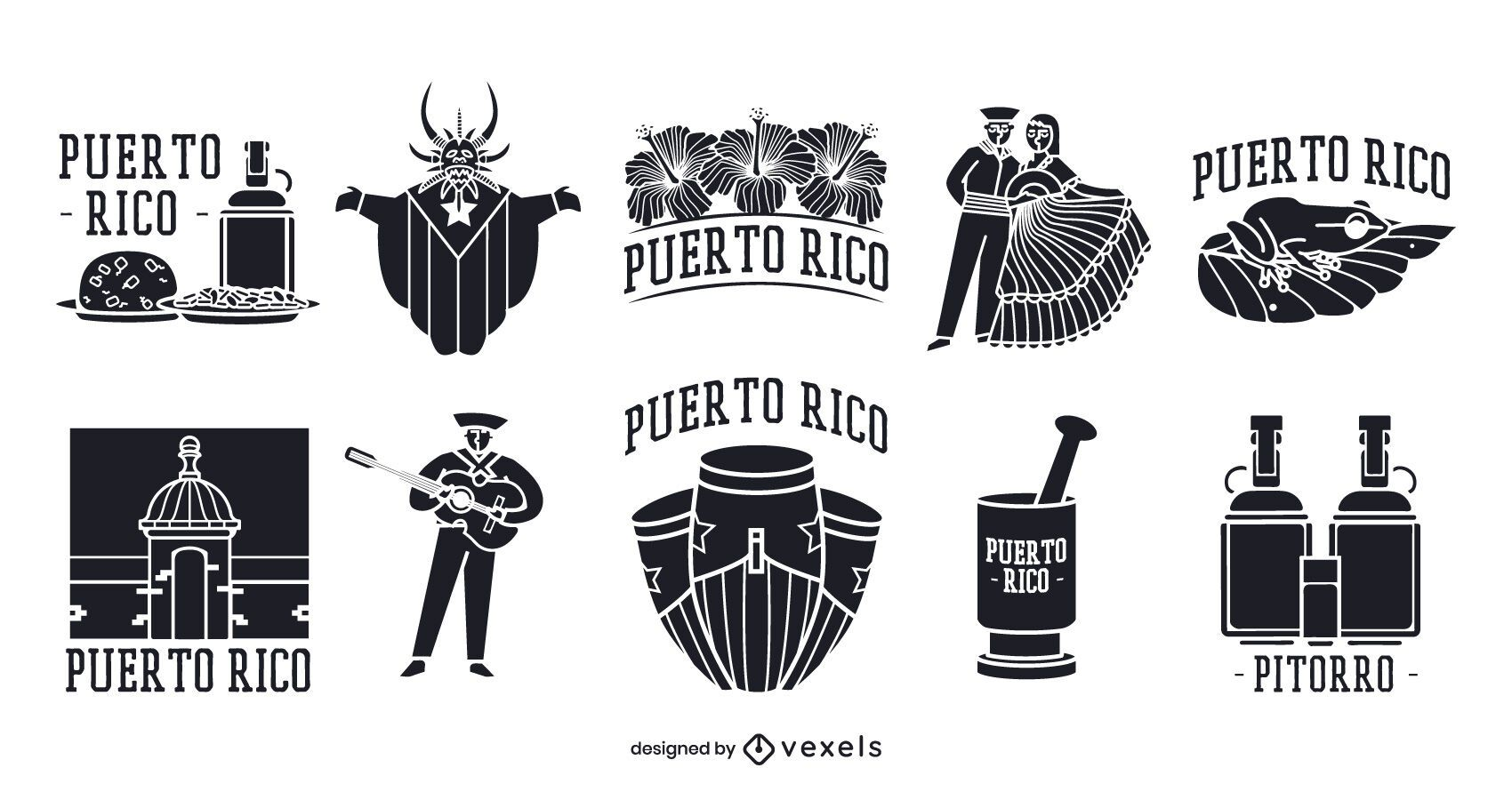 Puerto Rico Silhouette Elements Pack