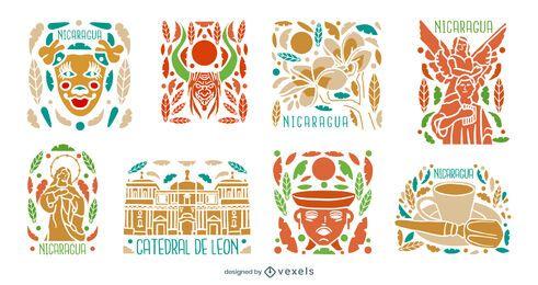 Pacote de elementos culturais ilustrados da Nicarágua