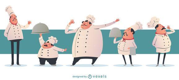 Conjunto de personajes de dibujos animados de chef