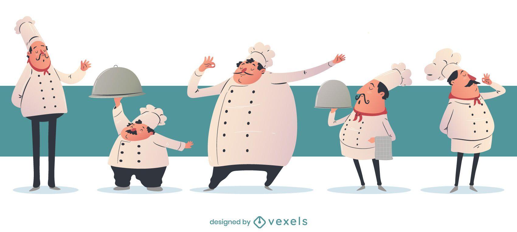 Chef Cartoon Character Set