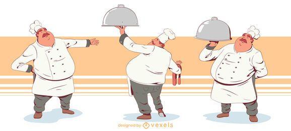 Conjunto de diseño de dibujos animados de chef gordo