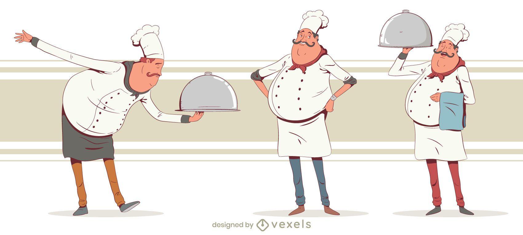 Paquete de diseño de personas chef