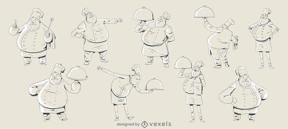 Conjunto de diseño de personas de chef de trazo