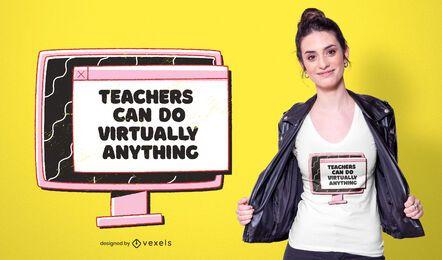 Diseño de camiseta de profesores virtuales.