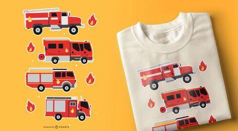Diseño de camiseta de camiones de bomberos.