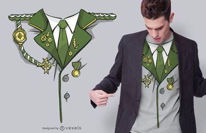 Diseño de camiseta de traje militar verde