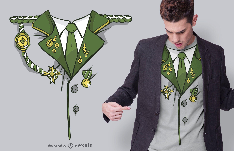 Design de camiseta para traje militar verde