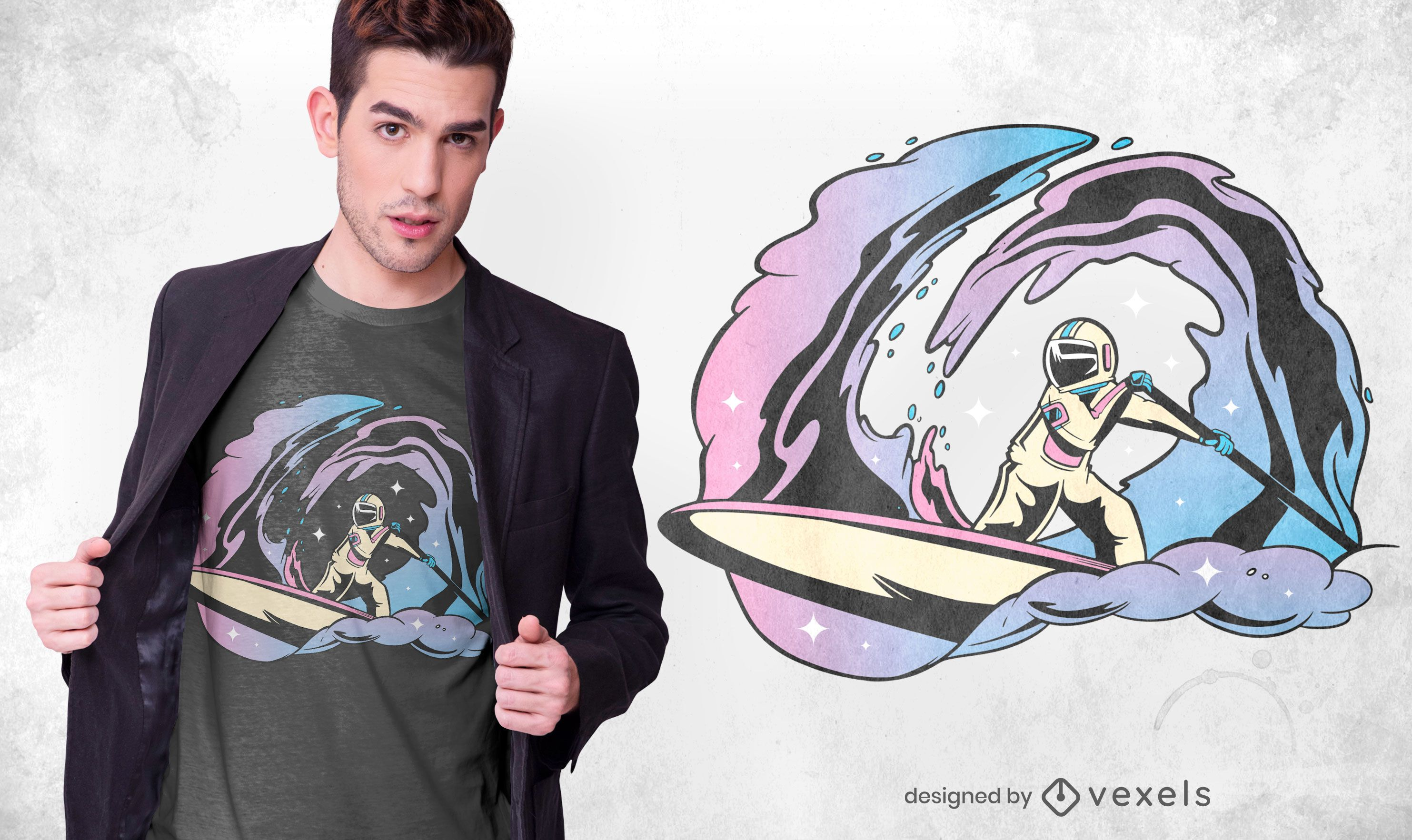 Space Paddleboarding T-shirt Design