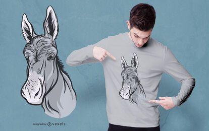 Diseño de camiseta de cabeza de burro.