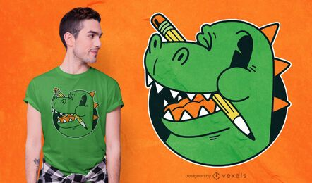 Cute School T-rex T-shirt Design