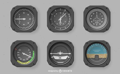 Realistisches Design-Set für Cockpit-Instrumente