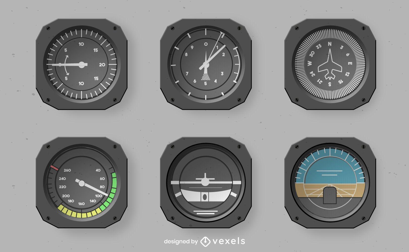 Conjunto de design de instrumentos de cockpit realista