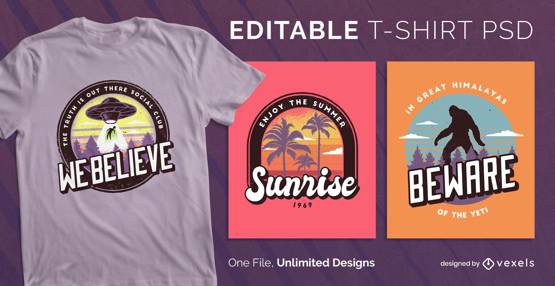 Badge t-shirt design psd