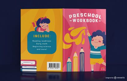 Diseño de portada de libro de libro de trabajo preescolar