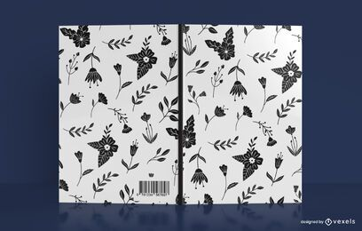 Diseño de portada de libro con patrón de flor negra