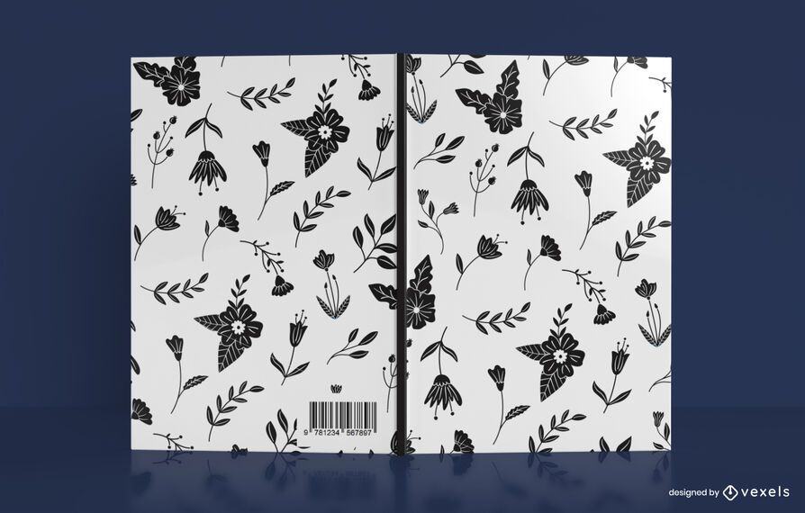 Black Flower Pattern Book Cover Design