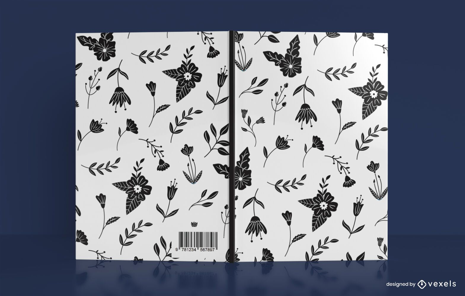 Black Flower Pattern Book Cover Design