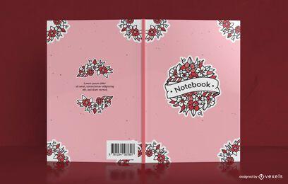 Design de capa de caderno floral da velha escola