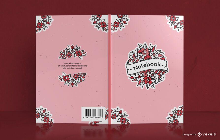 Diseño de portada de cuaderno floral de la vieja escuela