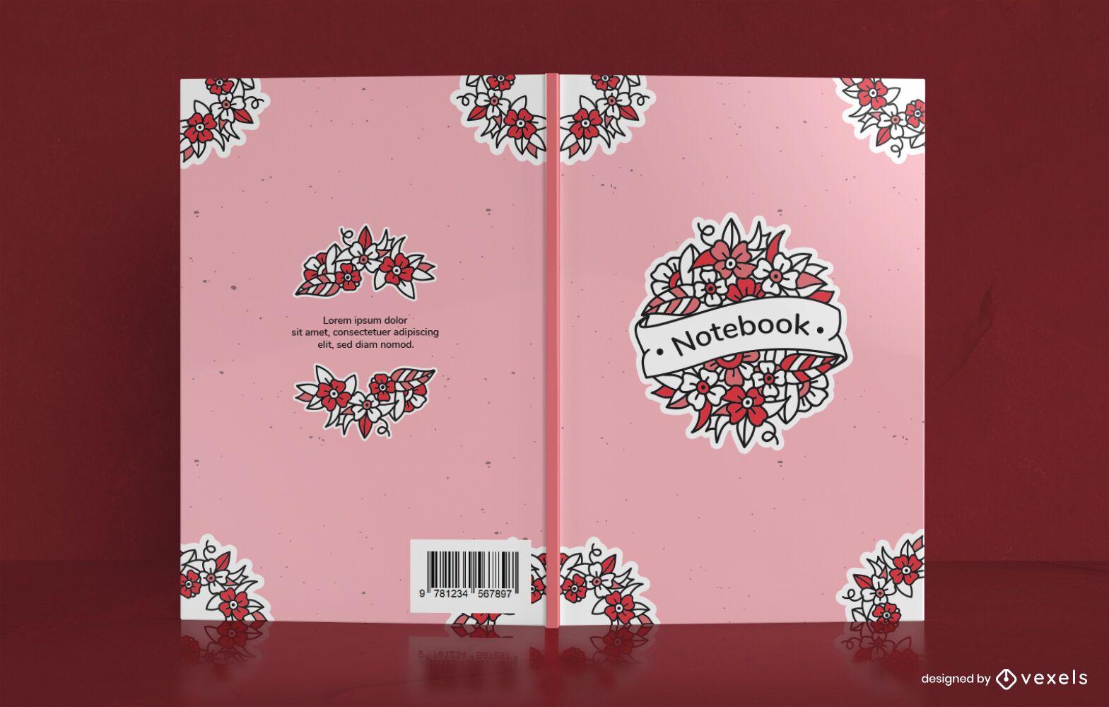 Old School Floral Notebook Cover Design