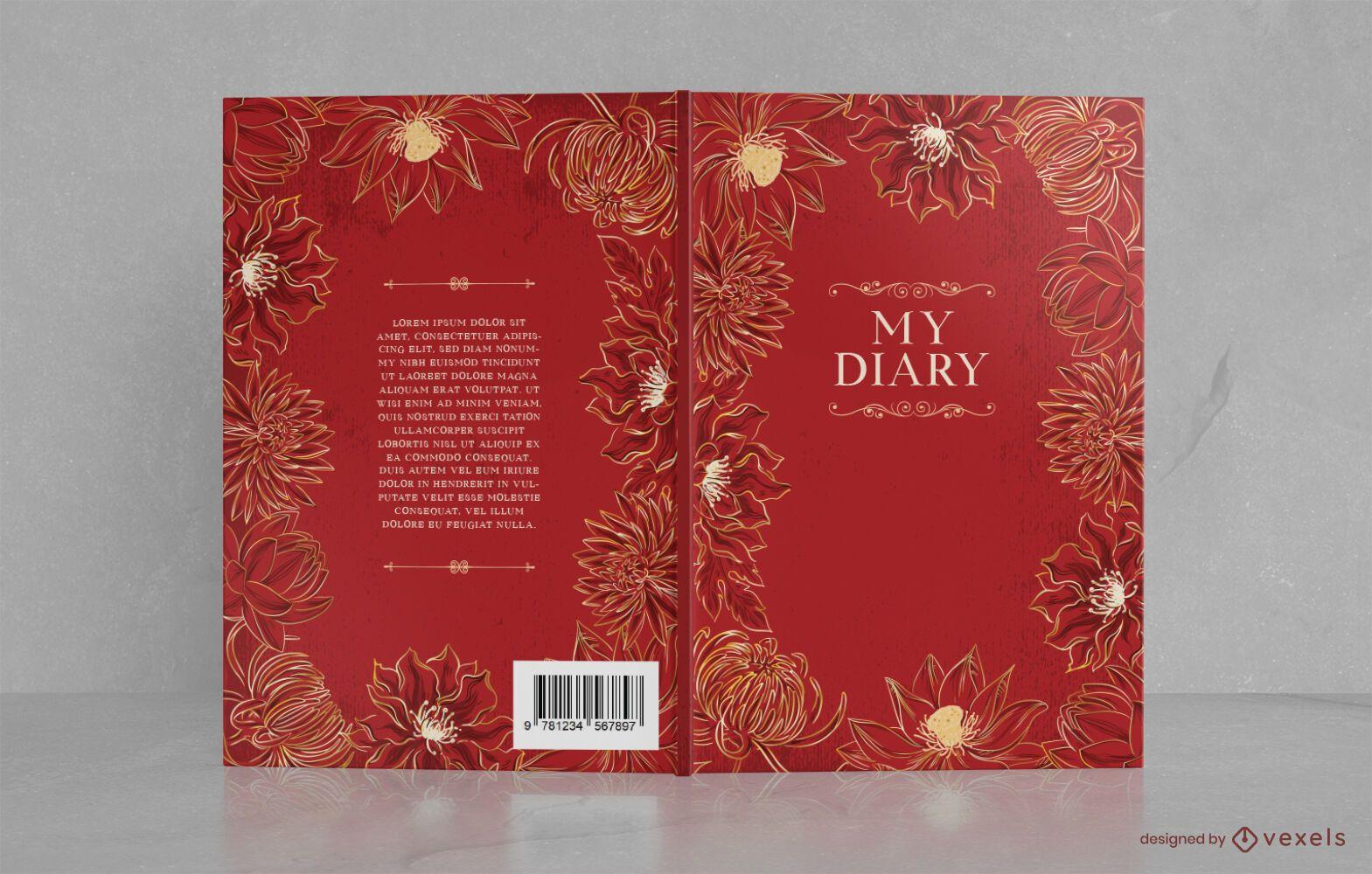 Diseño de portada de libro floral ornamental
