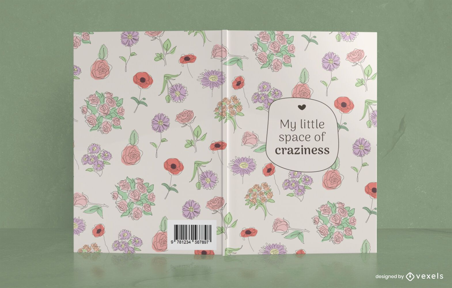 Diseño de portada de libro Floral Space of Craziness
