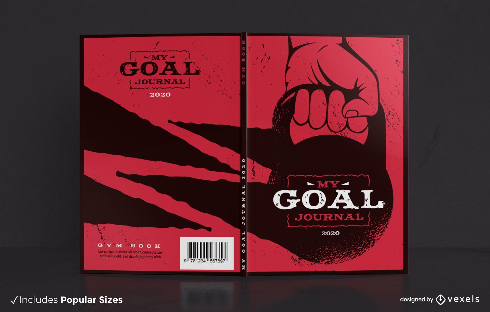 Diseño de portada de libro de diario de gimnasio