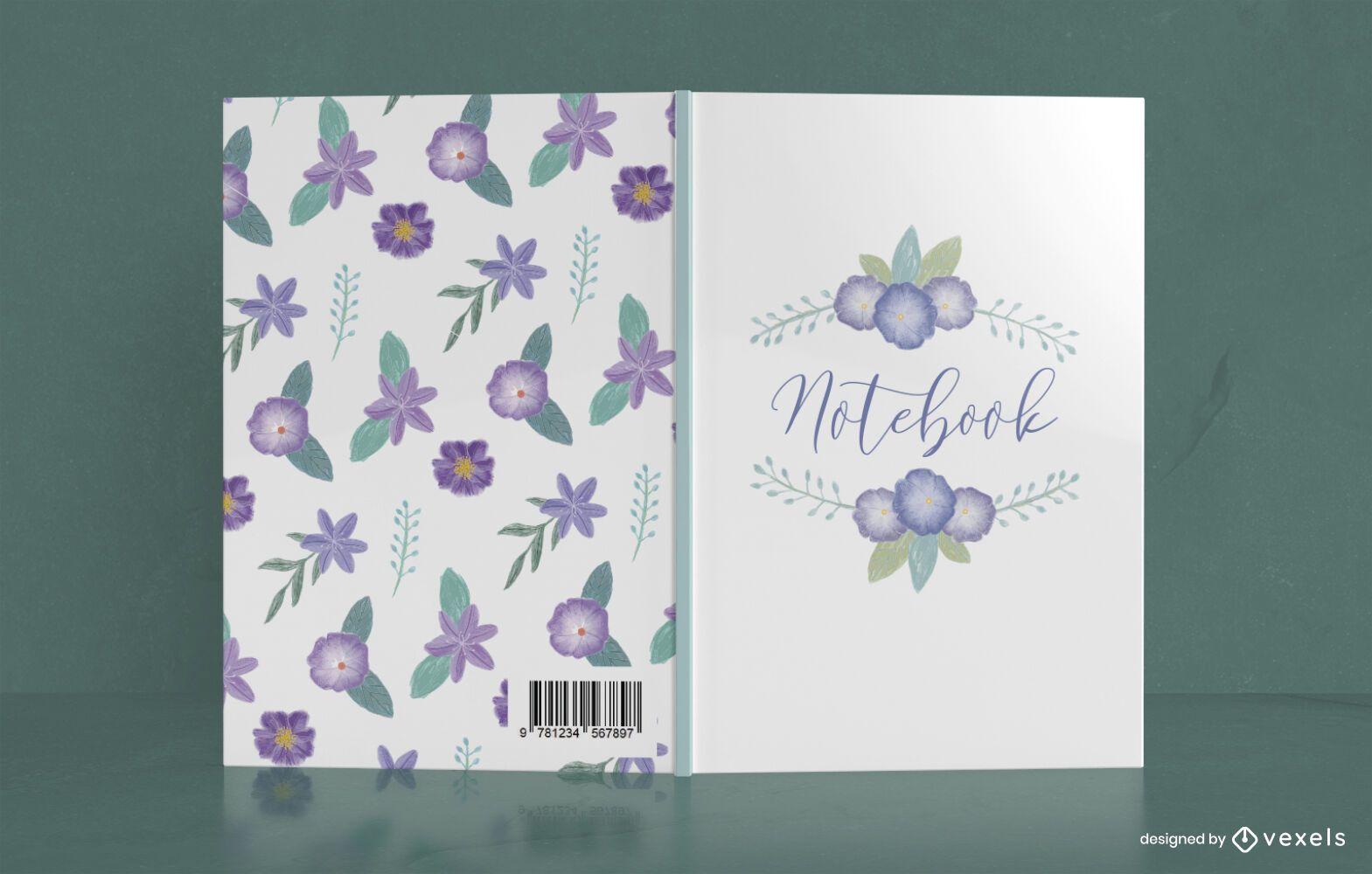 Design de capa de caderno floral lilás