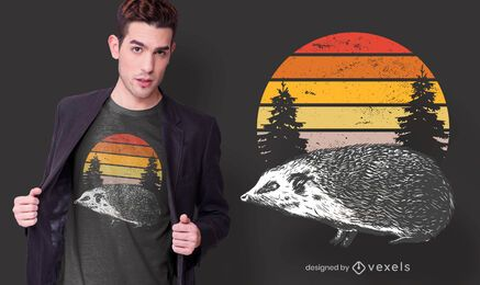 Diseño de camiseta Sunset hedgehog
