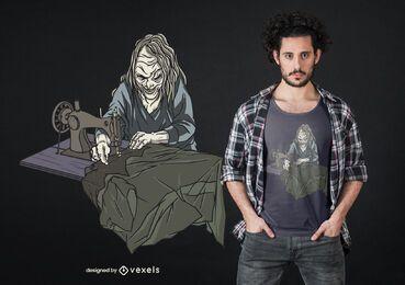 Design de camiseta de bruxa costurando