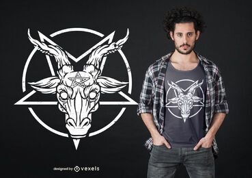 Diseño de camiseta de pentagrama de Baphomet