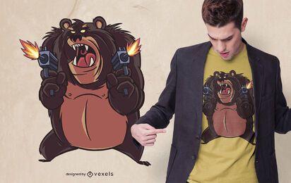 Design de t-shirt de urso furioso atirando