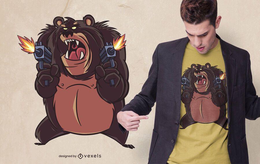 Angry bear shooting t-shirt design