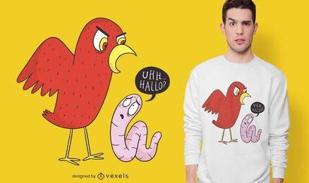 Design de camisetas para pássaros e minhocas