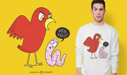 Diseño de camiseta de pájaro y gusano.