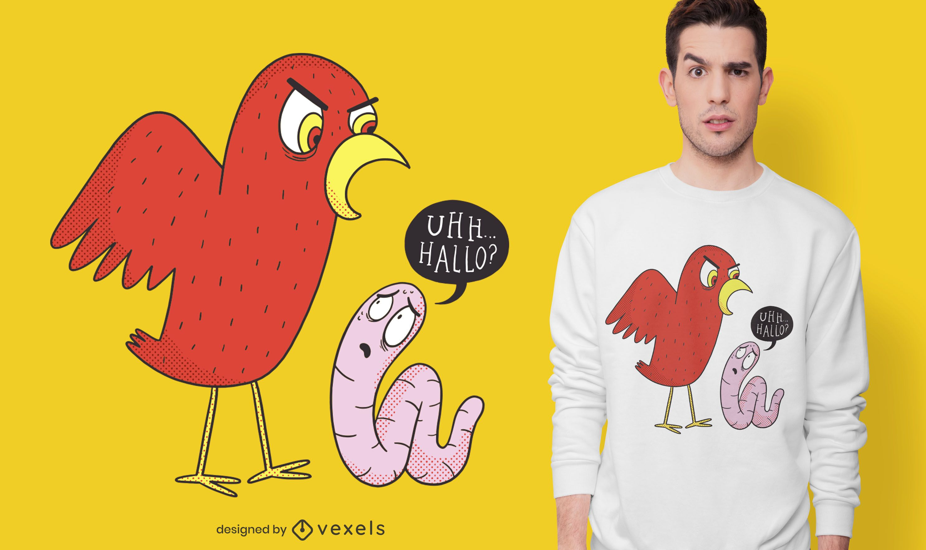 Bird and worm t-shirt design